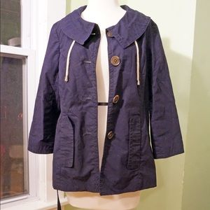 J. Crew XS 2 Navy Blue Belted Cropped Trench Coat